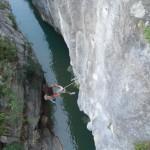 escalade au dessus du dernier bief du canyon du Barazil sierra de guara sejour canyoning